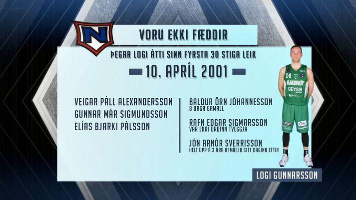 Þrír ekki fæddir og þrír innan við þriggja ára er Logi átt sinn fyrsta þrjátíu stiga leik.