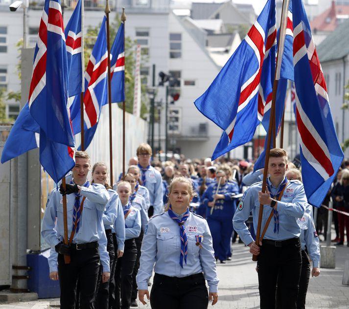 Íslenski fáninn blakti víða á 17. júní en veðurblíðan lék við landann þennan þjóðhátíðardaginn.