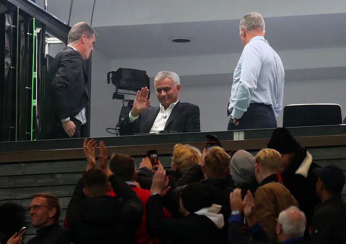 José Mourinho á Old Trafford í dag.