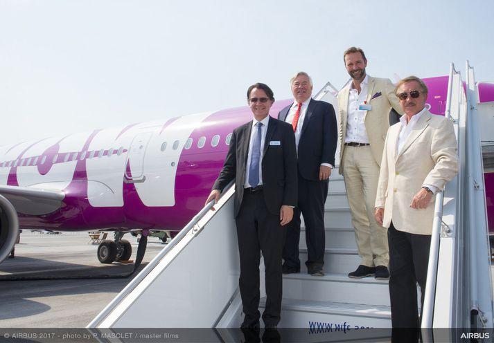 Gael Meheust, forseti og forstjóri CFM international, John Leahy, framkvæmdastjóri Airbus Commercial aircraft, Skúli Mogensen, forstjóri og eigandi WOW air, og Steven F. Udvar-Házy, stjórnarformaður Air Lease Corporation.