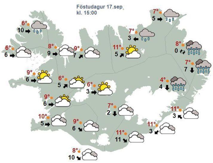 Hiti verður sjö til fjórtán stig yfir daginn, hlýjast austantil og svalast á Vestfjörðum.