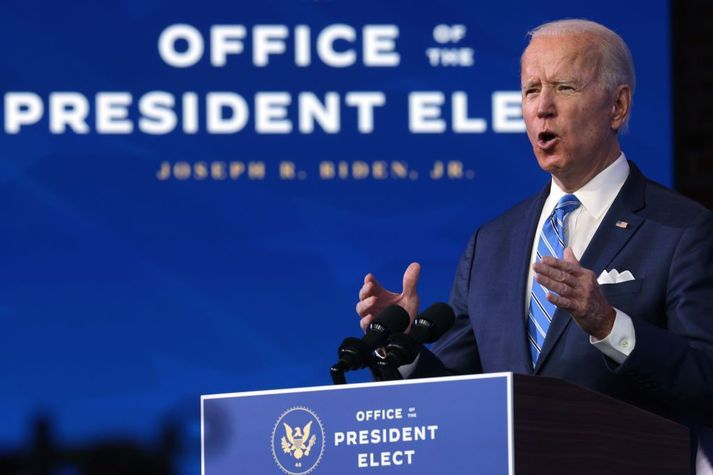 Joe Biden flutti ávarp í gær frá heimaborg sinni, Wilmington í Delaware.
