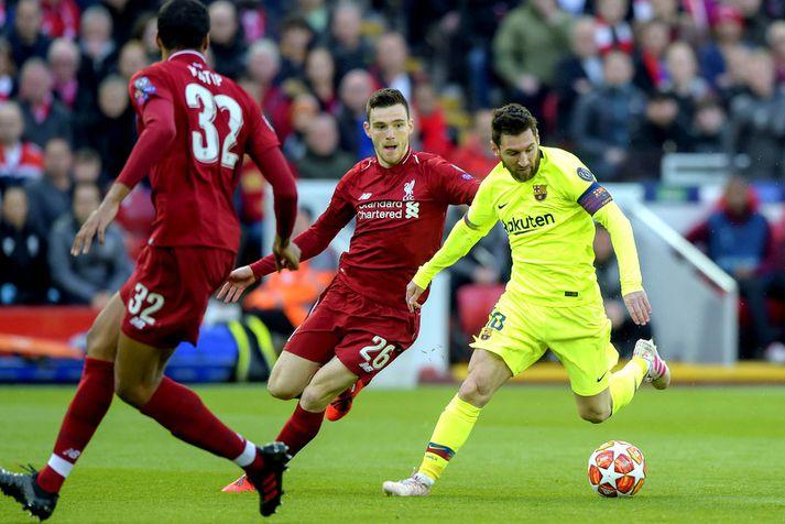 Síðasti Meistaradeildarleikur Lionel Messi var á móti Liverpool á Anfield í undanúrslitunum síðasta vor.