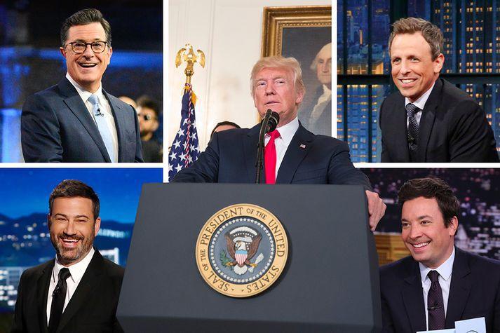 Sumir af helstu spjallþáttastjórnendum Bandaíkjanna, ásamt Donald Trump.