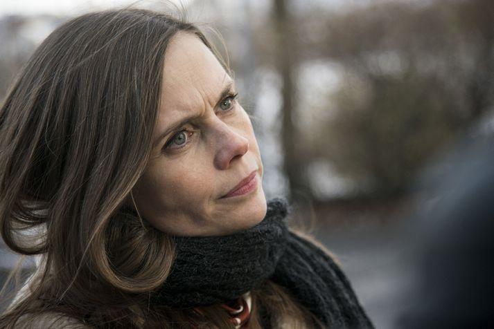 Katrín Jakobsdóttir, formaður Vinstri grænna, þegar hún kom til formannafundar í Ráðherrabústaðnum í gær.