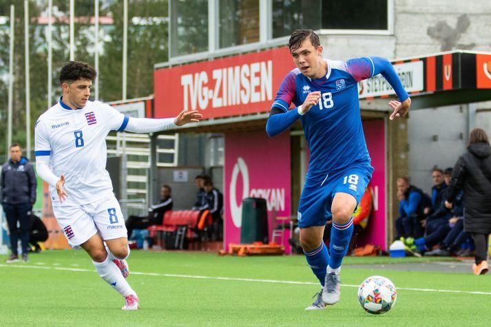 Willum Þór Willumsson í leik með U21-landsliðinu.