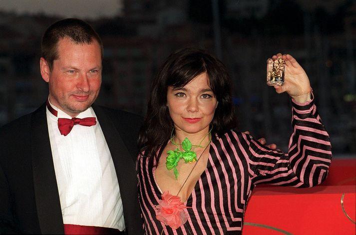 Björk og Lars von Trier á kvikmyndahátíðinni í Cannes árið 2000.
