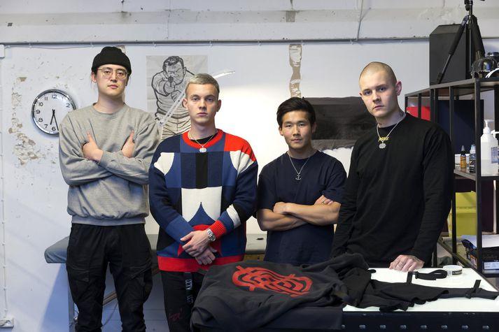 Sigurður Ýmir, Jóhann Kristófer, Pétur Kiernan og Benedikt Andrason eru mennirnir á bak við fatamerkið Child.
