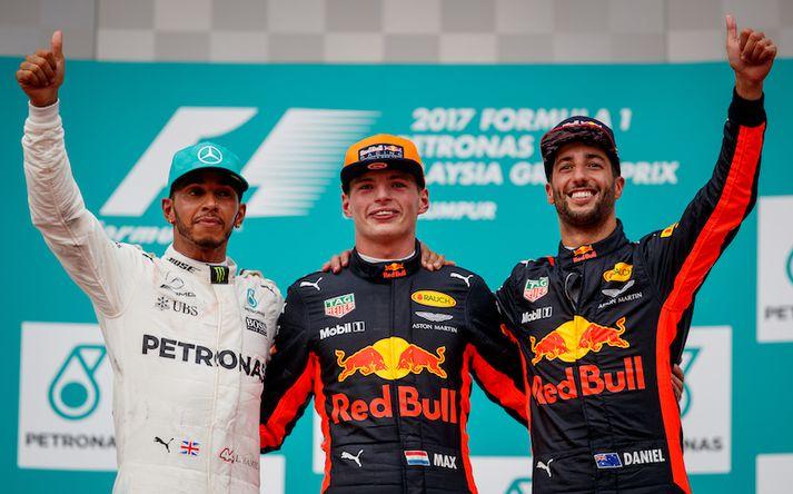 Lewis Hamilton, Max Verstappen og Daniel Ricciardo voru á verðlaunapalli í dag.