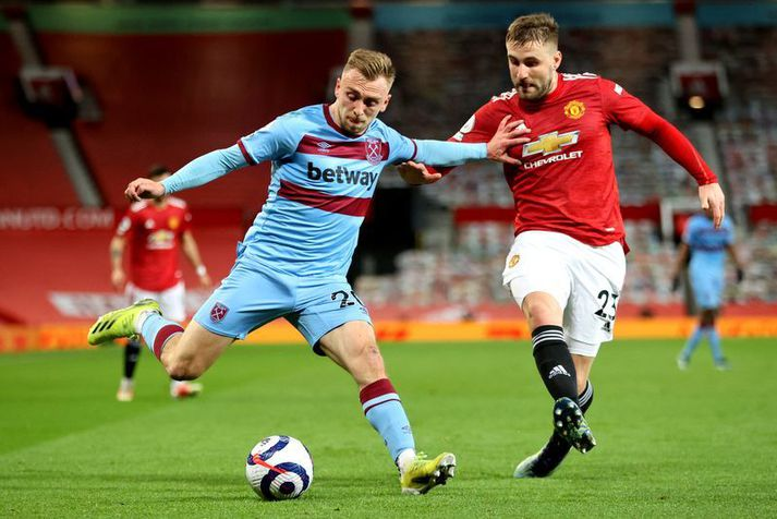 Jarrod Bowen í leik á móti Manchester United. United menn þurftu að hafa fyrir honum í tveimur leikjum í síðustu vikum.
