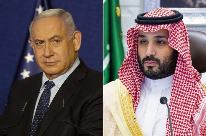 Benjamin Netanjahú, forsætisráðherra Ísrael, og Mohammed bin Salman, krónprins Sádi-Arabíu.