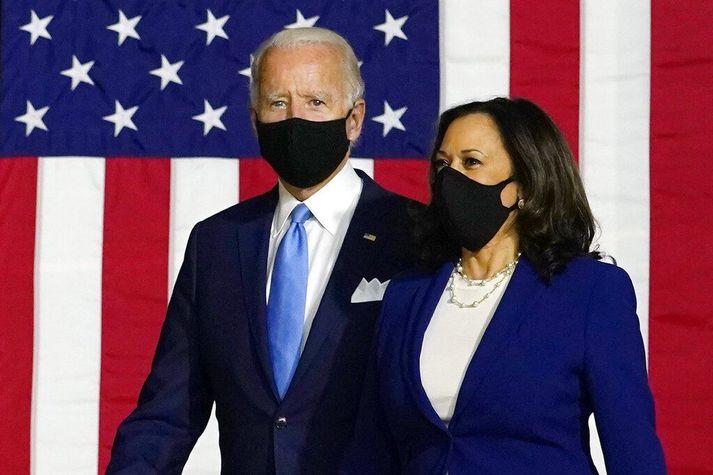 Joe Biden og Kamala Harris á fundi í gær.