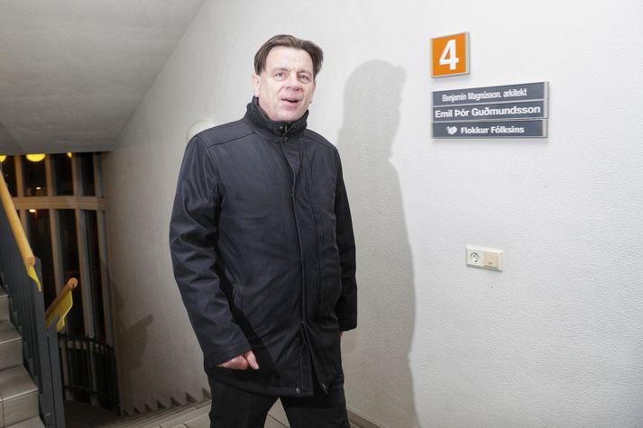 Karl Gauti þegar hann kom til fundar stjórnar og framkvæmdastjórnar Flokks fólksins nú síðdegis.
