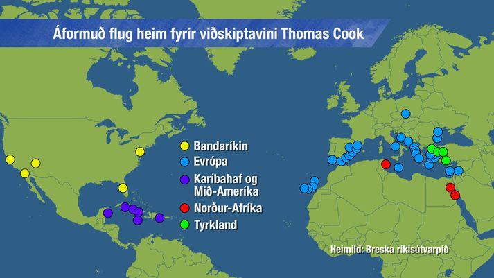 Bresk stjórnvöld reyna nú að koma strandaglópum aftur heim, þeim að kostnaðarlausu.