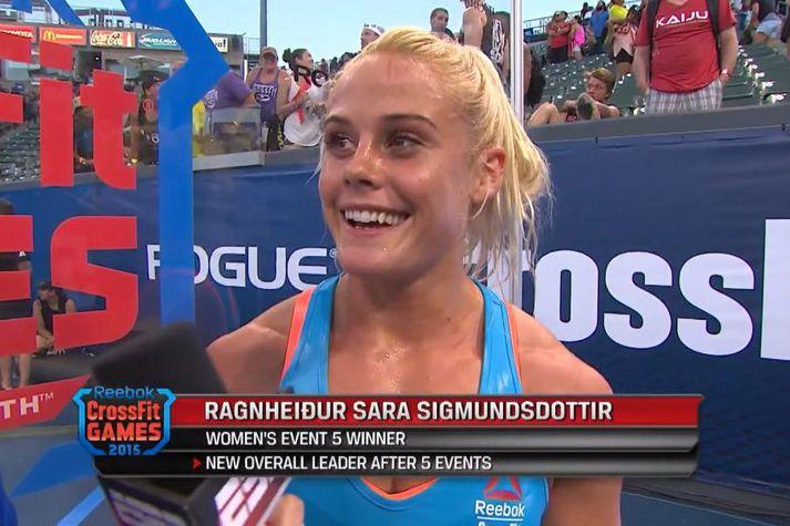 Sara Sigmundsdóttir í viðtali eftir þessa frábæru frammistöðu sína.