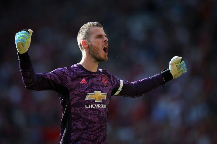 De Gea fagnar marki í leik með Manchester United fyrr á tímabilinu.