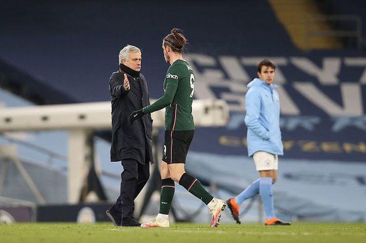 """Vandræðalegt """"fæv"""" Mourinho og Bale eftir leikinn gegn Man. City á dögunum."""