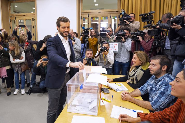 Pablo Casado er formaður hægriflokksins Partido Popular.