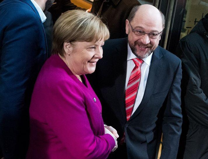 Angela Merkel Þýskalandskanslari og Martin Schulz, leiðtogi Jafnaðarmanna.