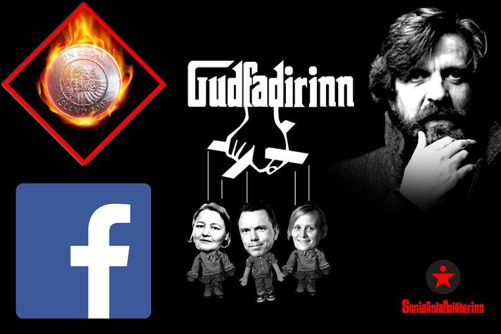 Á myndinni sem Kosningar birta í kostaðri auglýsingu á Facebook sést Gunnar Smári sem guðfaðir þriggja verkalýðsleiðtoga.