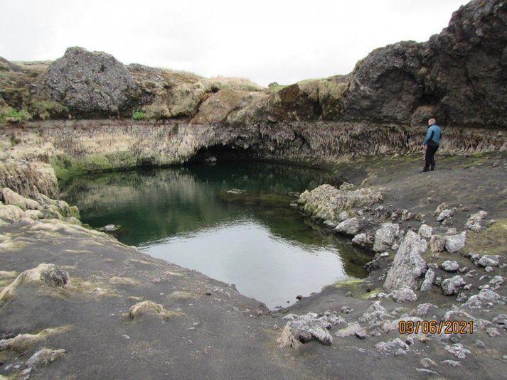 Á myndinni má sjá lítinn poll sem eftir er í farveg læksins. Myndin var tekin þann 3. júní síðastliðinn.