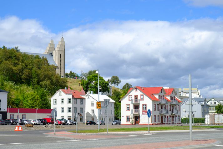 Frá Akureyri, þar sem upp kom eldur á fimmta tímanum í dag.