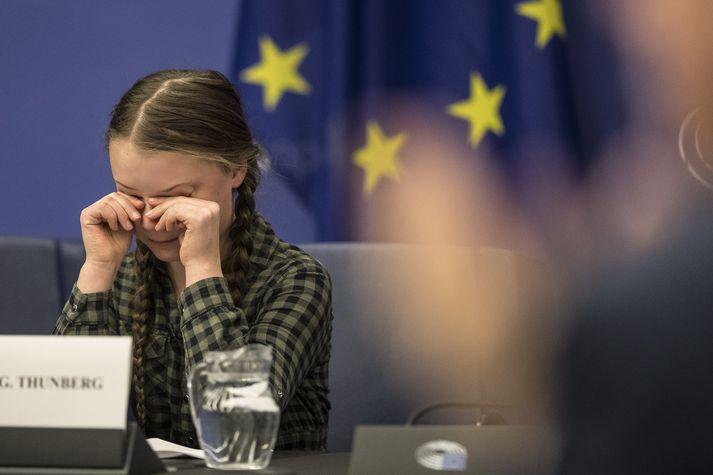 Greta Thunberg felldi tár þegar hún ávarpaði Evrópuþingið í dag