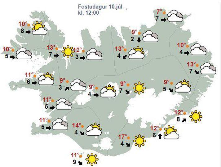 Veðrið á hádegi í dag verður einhvern veginn svona.