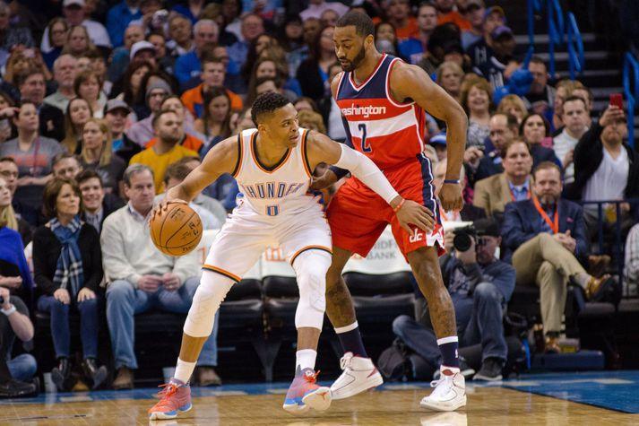 Russell Westbrook og John Wall í leik á móti hverjum öðrum en Westbrook mætti Wall aldrei sem leikmaður Houston Rockets.