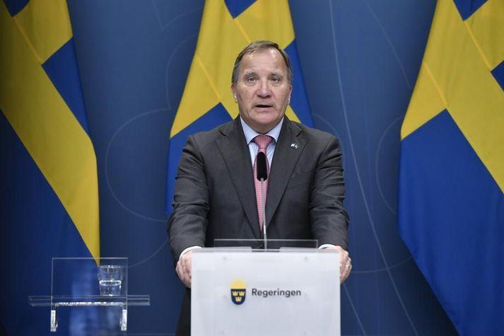 Stefan Löfven á blaðamannafundi sínum í morgun.