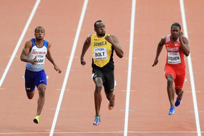 Bolt kemur í mark í dag.