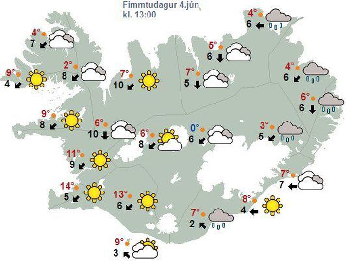 Veðurspáin fyrir Ísland klukkan 14 í dga.