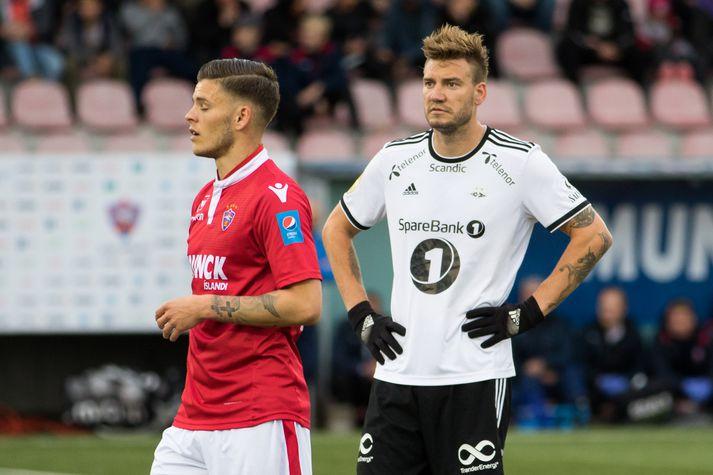 Nicklas Bendtner kom til Íslands í sumar þegar lið hans Rosenborg mætti Val í forkeppni Meistaradeildar Evrópu