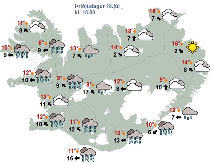 Eins og sjá má á þessu veðurkorti er spáð mikilli rigningu sunnan-og vestanlands á morgun.