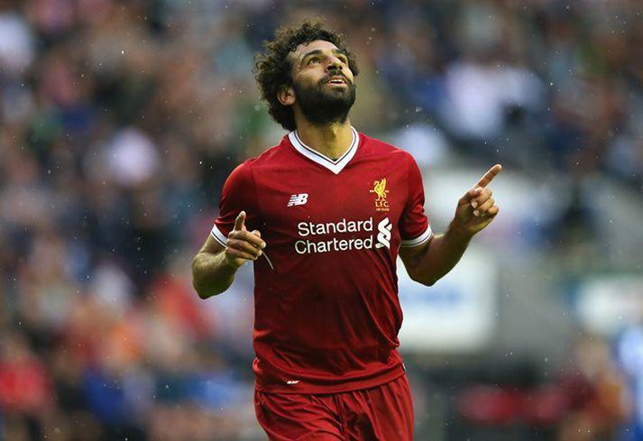 Salah fagnar sínu fyrsta marki í búningi Liverpool.