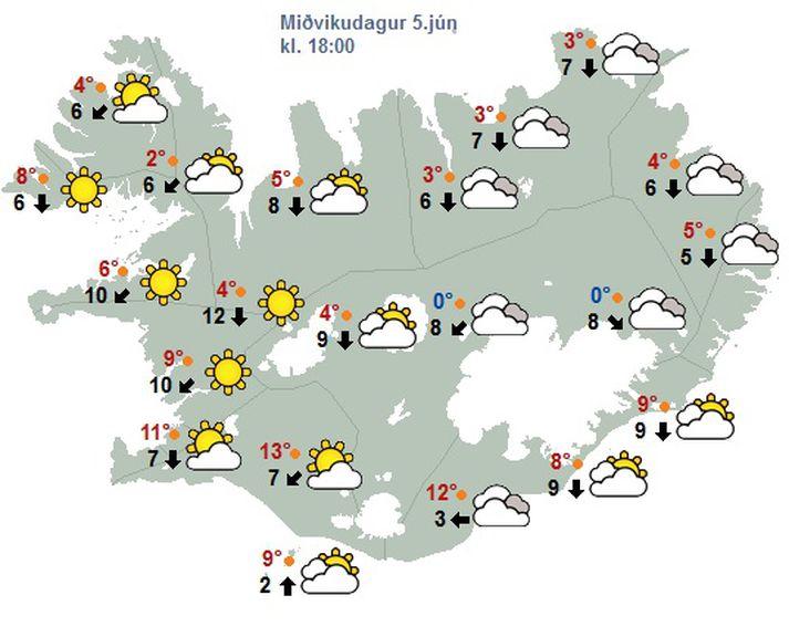 Sólin ætti að láta sjá sig sunnan og vestan til í dag.