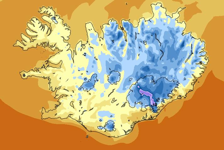 Veðurstofan spáir hita 5 til 10 stig síðdegis, en víða frost í innsveitum norðanlands í nótt.