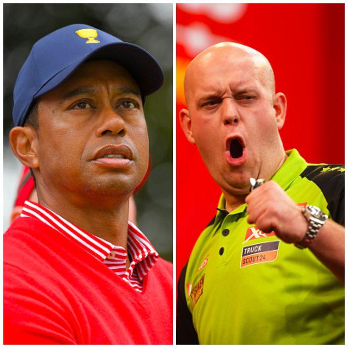 Tiger Woods og Michael Van Gerwen eru í eldlínunni í dag.