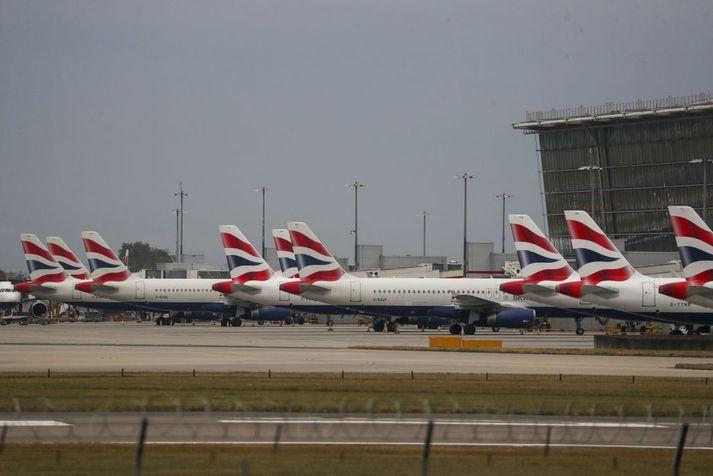 Flugvélar British Airways á Heathrow-flugvelli í morgun. Þeim verður ekki flogið næstu tvo sólarhringana eða svo vegna verkfalls flugmanna.