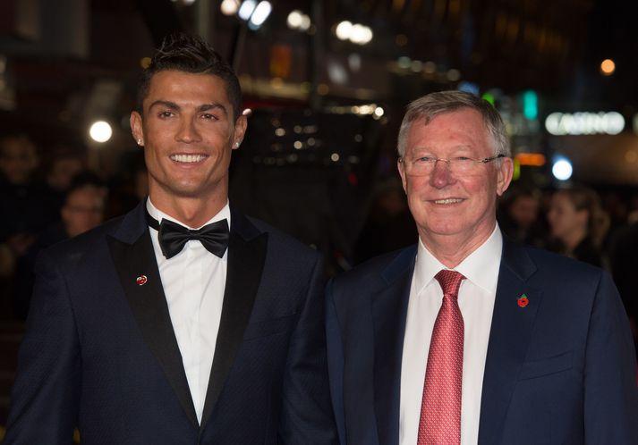Cristiano Ronaldo og Sir Alex Ferguson á góðri stundu.