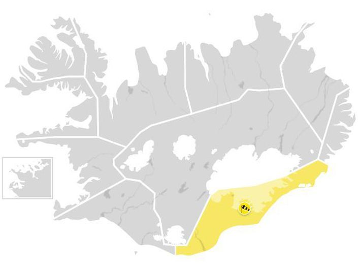 Gul veðurviðvörun tekur gildi á Suðausturlandi í kvöld.