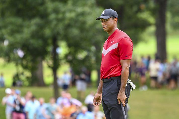 Tiger í síðasta golfmóti sem hann tók þátt í. Næsta mót hans verður í fyrsta lagi í október.