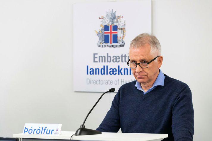 Þórólfur Guðnason sóttvarnalæknir. Myndin er tekin á einum af fjölmörgum upplýsingafundum sem haldnir hafa verið vegna kórónuveirufaraldursins.
