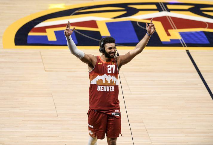 Jamal Murray þakkar fyrir stuðninginn eftir sigur Denver Nuggets á Philadelphia 76ers.