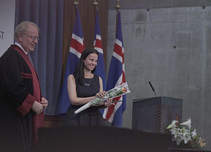 Vilhjálmur Egilsson, rektor háskólans á Bifröst, og Thelma Rós.