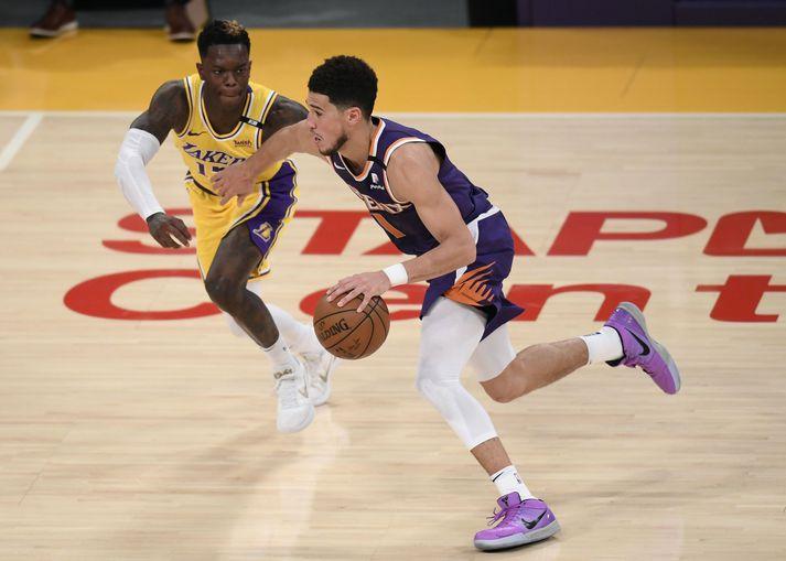 Devin Booker átti stórleik þegar Phoenix Suns sendi Los Angeles Lakers í sumarfrí.