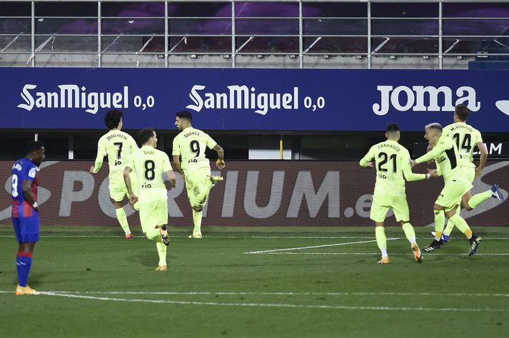 Suárez tryggði Atlético sigur í kvöld.