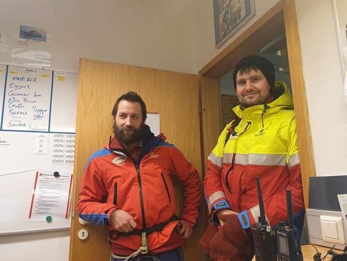 Hér sjást þeir Finnur Smári Torfason og Stephan Mamtler, björgunarmennirnir sem fundu konuna.