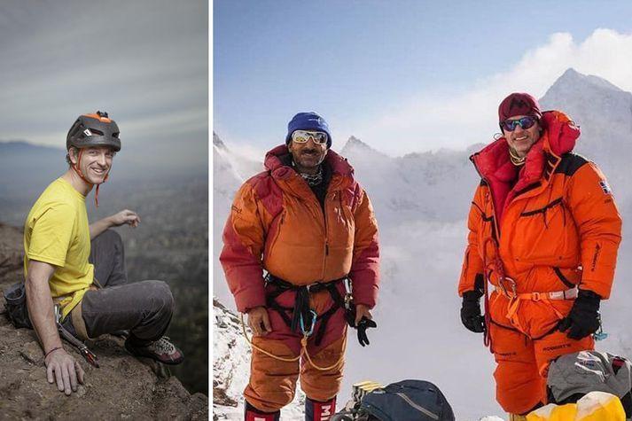 Þremenningarnir Juan Pablo Mohr (t.v.), Ali Sadpara (f.m.) og John Snorri Sigurjónsson (t.h.) fórust á leið upp á topp K2 í febrúar.