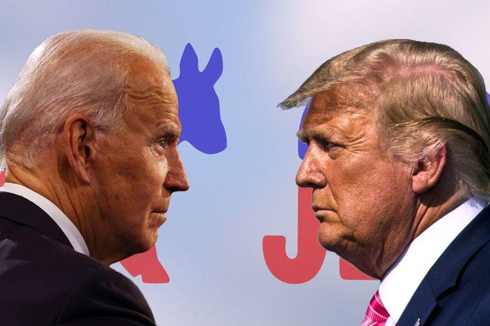 Donald Trump og Joe Biden keppa um forseteaembætti Bandaríkjanna.
